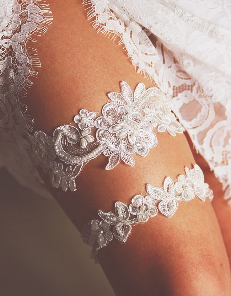 Bridal Garter Wedding Garter Set - Keepsake Garter Toss Garter Included - Ivory Garter Beaded Flower Lace Garter Garters - Vintage Inspired