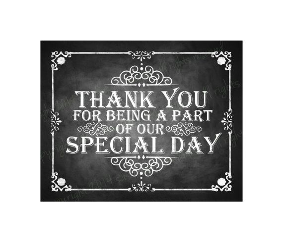 Printable Thank You For Being A Part Of Our Special Day