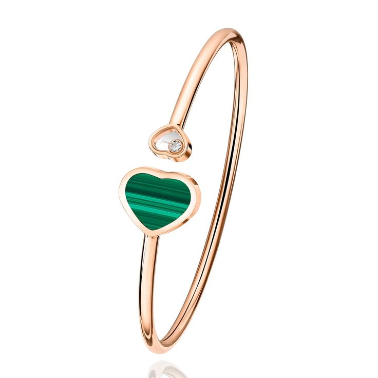 Chopard Happy Hearts malachite and white diamond bangle bracelet in 18-carat rose gold. http://www.thejewelleryeditor.com/shop/product/chopard-happy-hearts-bangle-with-malachite-diamond/?current_section=jewellery #jewelry