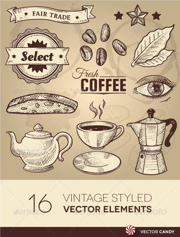 Vintage Coffee Cafe Vector Elements Set   #GraphicRiver        Vintage Coffee Cafe Vector Elements Set Vector illustration of various cafe related items doodled in a vintage style. This design collection has been stylized to look like a traditional coffee shop. Great for use on menus and signs.