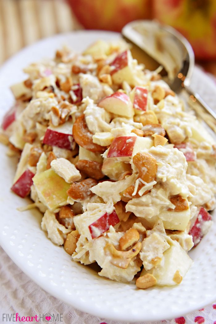 Chicken Salad with Apples and Cashews ~ a honey-kissed autumn spin on classic Sonoma Chicken Salad | FiveHeartHome.com #chickensalad #fall #recipe