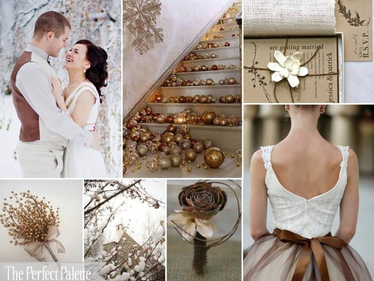 {Shimmer + Snow}: Copper, Shades of Brown, Antique Gold + White
