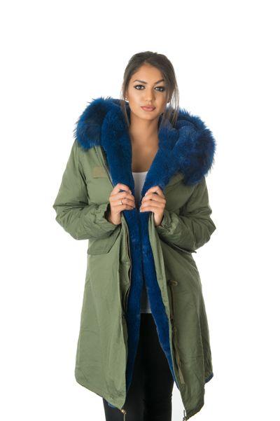 blue fur parka coat