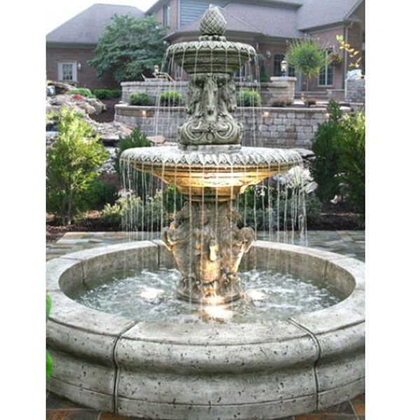 Outdoor Cavalli Fountain with Fiore Pond - Water Feature Pros
