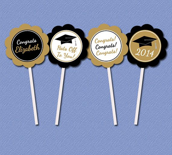 Personalized Graduation Cupcake Toppers, Graduation Cakes Selection, 2019 Black and Gold Graduation Party Decorations, G2 Graduation Graduation