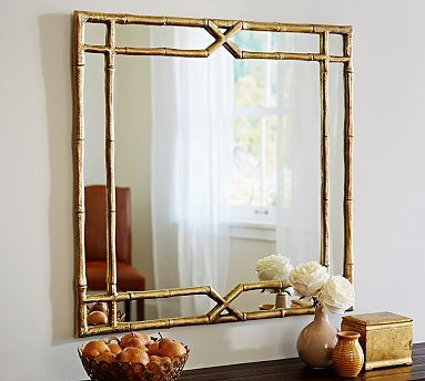 "Jasmine Bamboo Mirror #potterybarn $299 34"" square"