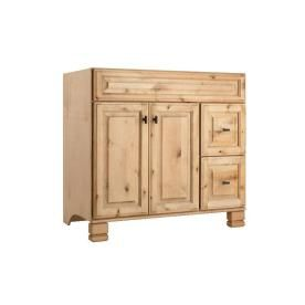 This could work. From Lowes. Style Selections Collingwood 36-in W x 21-in D Natural Traditional Bathroom Vanity