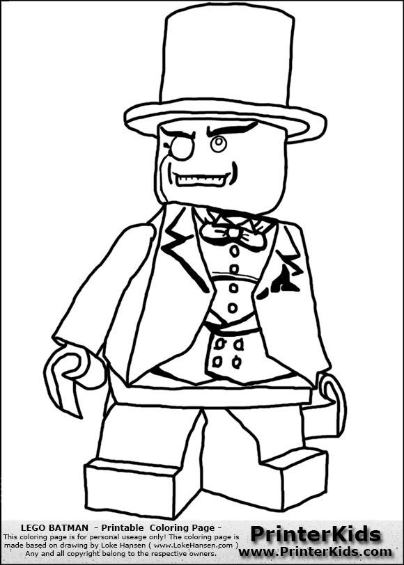 Lego Batman Penguin Lokehansen Printable Coloring Book Page