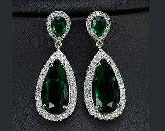 Pendientes de color esmeralda, pendientes de Swarovski Esmeralda, pendientes de la gota verde
