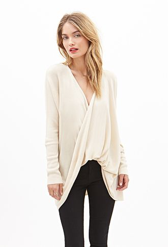 Twist-Front Longline Sweater