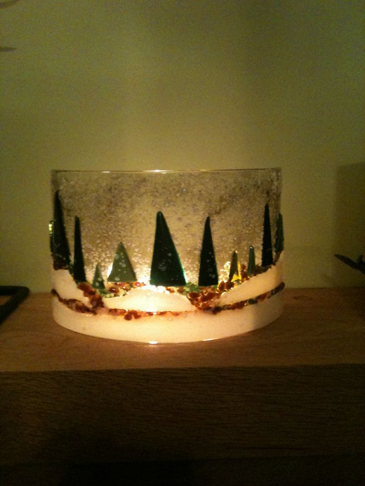 Glass forest scene after fusing and bending.