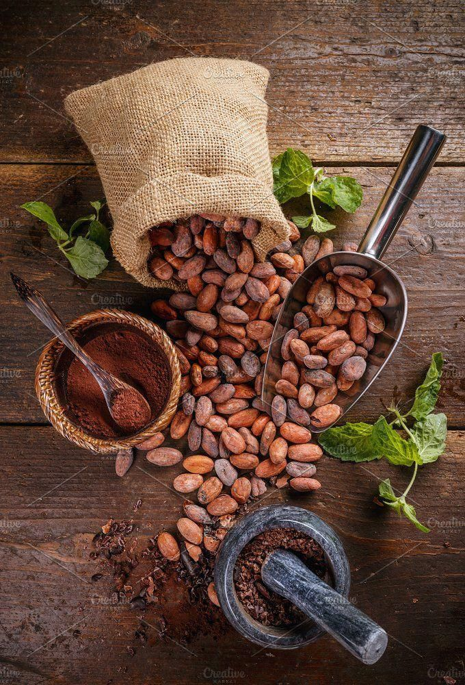 Organic Cacao Beans Top View Of Cocoa Beans And Mortar With Pestle On Wooden Background Cacao Beans Cacao Coffee Art