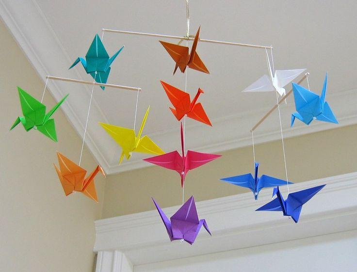mobile bébé original en oiseaux origami faciles à faire