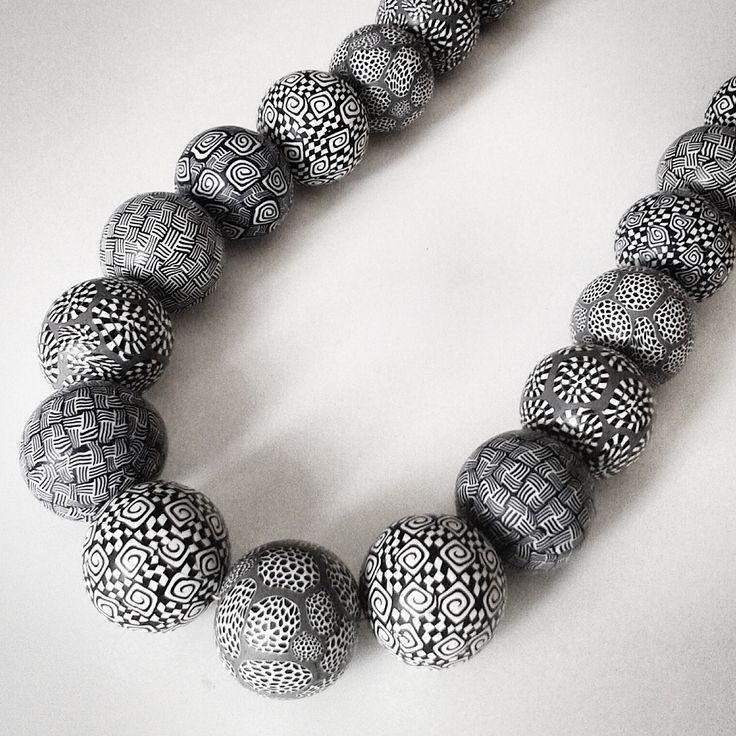 handmade polymer clay black & white beads