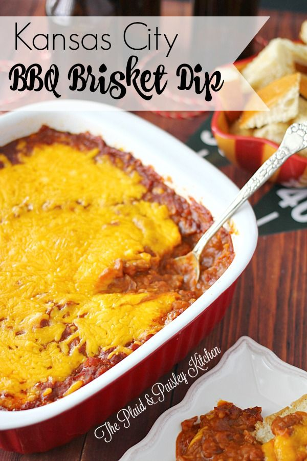 Kansas City BBQ Brisket Dip ~ The Plaid & Paisley Kitchen ~  Big Bold Meaty Flavor!  Perfect Game Day and Tailgating Dip.  This recipe will knock your socks off!