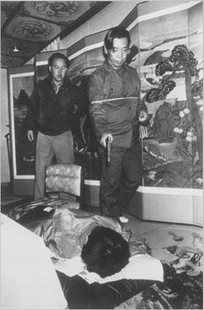 KCIA Director Kim Jae-kyu shooting President Park Chung-hee during a suspected coup d'état in the official Blue House, Seoul, South Korea, 1979, photographer unknown. Chung-hee's brutal rule, lasting 18 years and made possible by the dictator's employment of martial law, caused great animosity within the country and led to Chung-hee's own wife, South Korean first lady Yuk Young-soo, being assassinated at the National Theater in 1974. His daughter, Park Geun-hye, was elected president in…