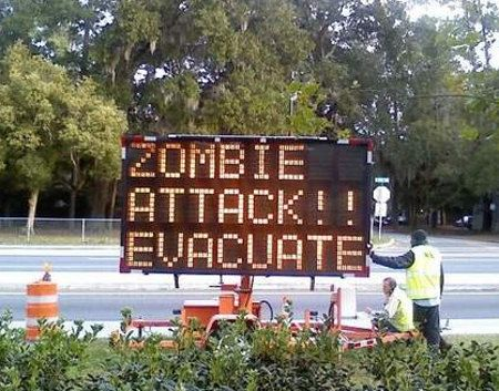 Too funny: Funny Zombies, Zombies Apocalypse, Signs, Funny Things, Roadsign Fun, Zombies Attack, Attack Fun, Zombies Survival, Lol Funny Stuff