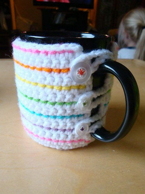 Beautiful Crochet Mug Cozy This Crochet Pattern / Tutorial Is Available For Free.  Full Post: Crochet Mug Cozy
