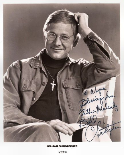 Collectible MASH M*A*S*H TV Star William Christopher Autograph Hand Signed Photo. Comes with certificate of authenticity. Christopher is best known for playing Father Mulcahy on the television series