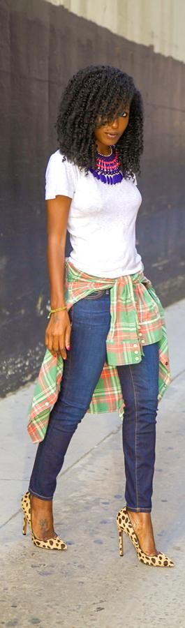 {Grow Lust Worthy Hair FASTER Naturally}>>> www.HairTriggerr.com <<<        Curly Hair+White Tee + Plaid Shirt + Stiletto Jeans= HOT Mama!!!