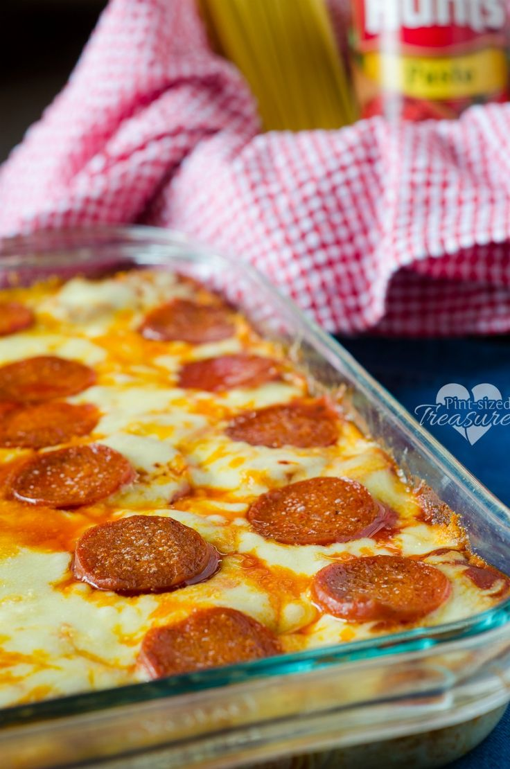 baked spaghetti pizza-- Such an easy recipe with great results. I used my homemade meatballs instead of pepperoni. I buried them under all that wonderful cheese. Will make again. Made 7-31-14