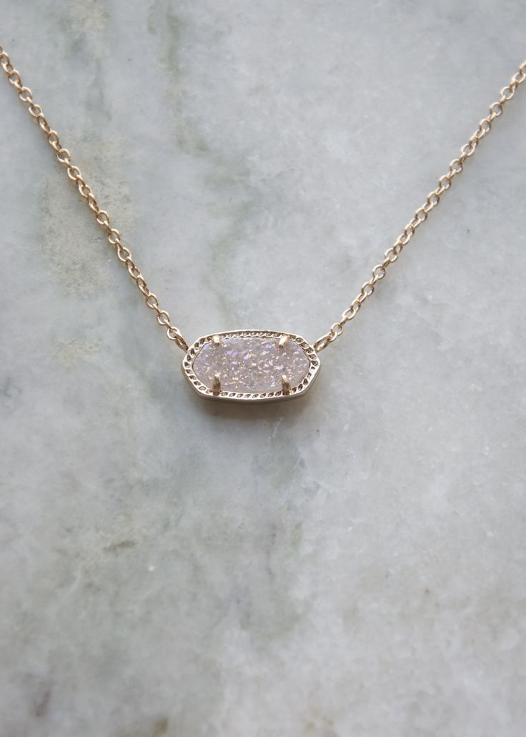 """Shown in rose gold/iridescent druzy. Size: 0.63""""L x 0.38""""W stationary pendant, 15"""" chain with 2"""" extender. 14K Gold Plated Over Brass. Lobster claw closure. Please note: Due to the one-of-a-kind natur"""