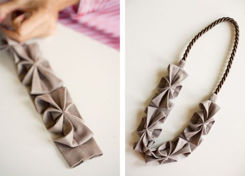 Yoko Vega shows her process for creating her signature origami fabric necklaces.
