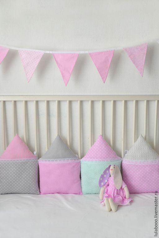 Купить Бортики-домики в детскую кроватку - бледно-розовый, мятный, серый, белый, бортики в кроватку