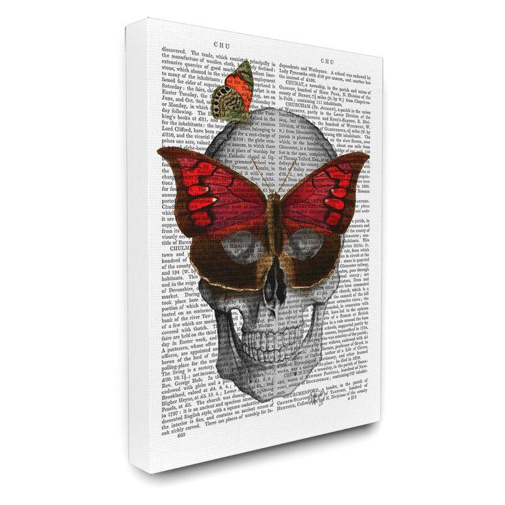 Stupell Decor Newspaper Print Skull with Butterflies Canvas Wall Art - MWP-174_CN_16X20