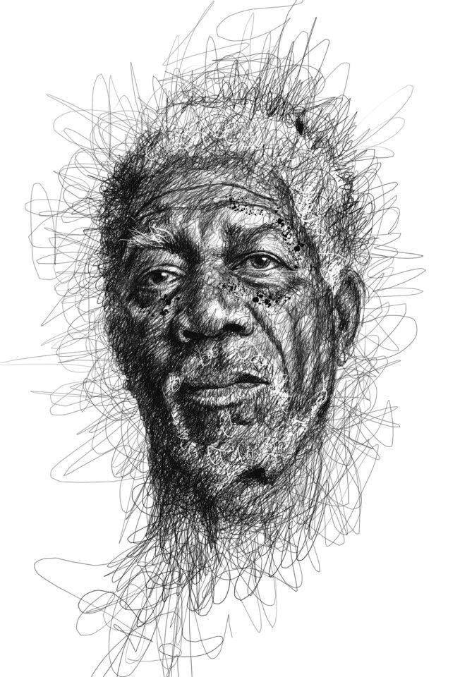 Famous Expressive Line Art : Quot morgan freeman expressive ballpoint pen drawing by