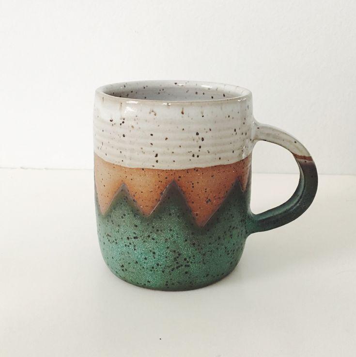 Teal Mountain Ceramic Mug, wheel thrown coffee mug, stoneware speckled pottery mug geometric mountain design teal pottery turquoise ceramic by TheLuluBird on Etsy https://www.etsy.com/listing/507552333/teal-mountain-ceramic-mug-wheel-thrown