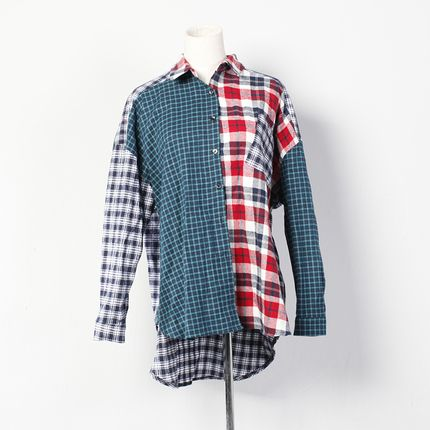 小窝家2014春装新款长衬衫女韩国随性设计不规则格子拼接撞色GB29