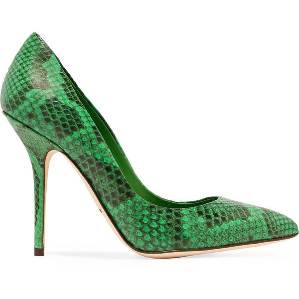 Dolce & Gabbana Lizard-effect leather pumps (1.620 RON) ❤ liked on Polyvore featuring shoes, pumps, green, high heel shoes, slip on shoes, pointed toe high heel pumps, slip-on shoes and high heeled footwear