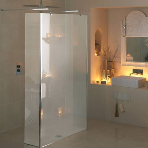 A walk through wet room shower zone.