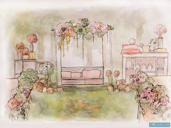 Эскиз свадьбы мечты: проект Висячие сады Семирамиды от Светланы Смирновой, BarBaris Wedding (г.Владимир)