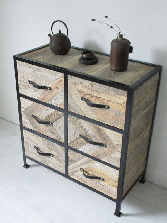 Aparador de madera Cajonera armario de mosaico de madera