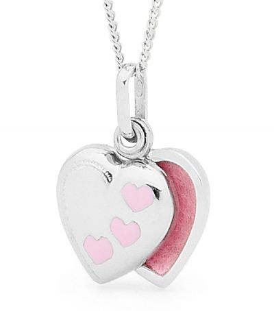 A pretty little heart shaped locket with a clever secret! Rather than opening on a hinge, this little locket slides open to show the photos inside.