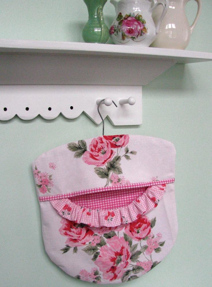 Clothes Pin Peg Bag -  Pink Roses -