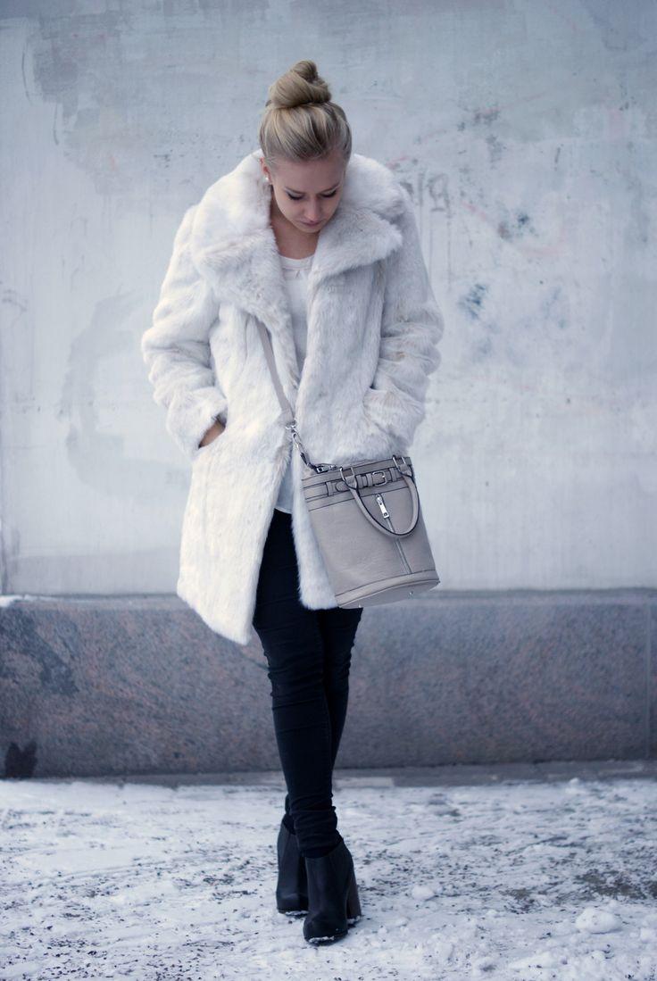 Faux fur coat & second hand bag