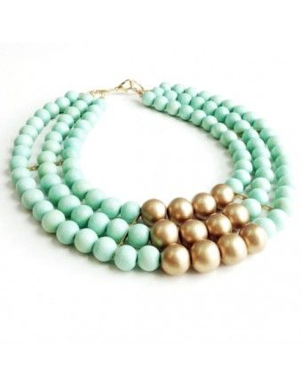 Mint & Gold Statement Necklace