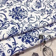 Gruba bawełna materiał tkaniny chiński styl niebieski i biały tkaniny obrusy etniczne tkaniny dekoracyjne tapetowanie(China (Mainland))