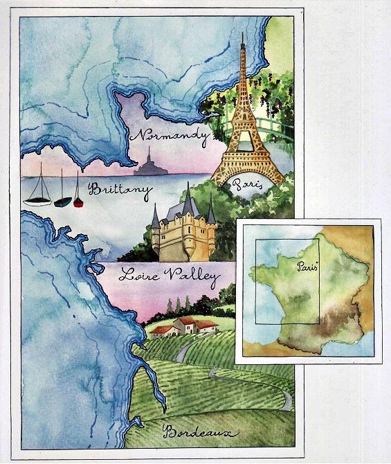 Watercolor Journaling Idea+Le+Road+Trip+map+France.jVivian. Swift
