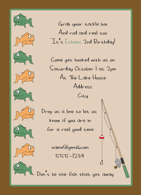 Double sided gone fishing birthday invitation my work for Fishing birthday party invitations