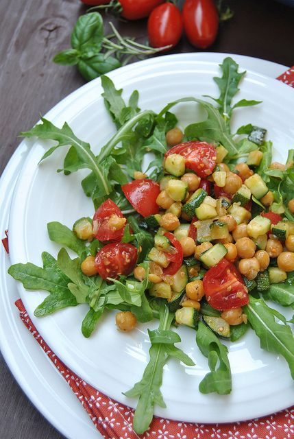 Chickpea and Zucchini Salad with Tomatoes and Arugula by Bakers Corner, via Flickr