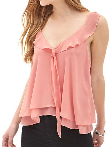 Lacing Double Layer Backless Chiffon Pink Plus Size Tank Tops For Women on buytrends.com