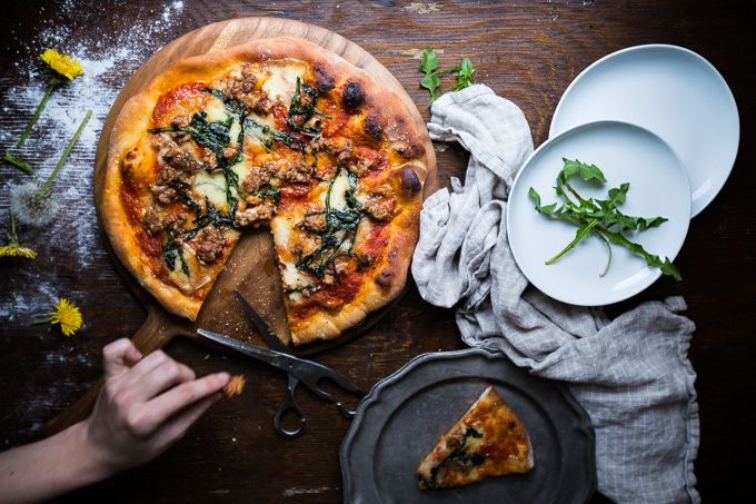 Fontina, Spicy Fennel Sausage, and Dandelion Greens Pizza with Olive Oil Dough // Just a Dream