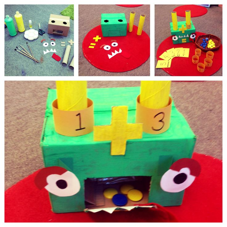 'Marvin the addition monster' Adapted from the 'adding wall' that my teaching mentor showed me. Pick a card (visual reps on cards) and put corresponding number ring on Marvin's horn. Put correct amount of blue counters down one horn, and yellow down the other. Open Marvin's mouth and you've got the new total! Perfect for FS2 addition work! #teaching #maths