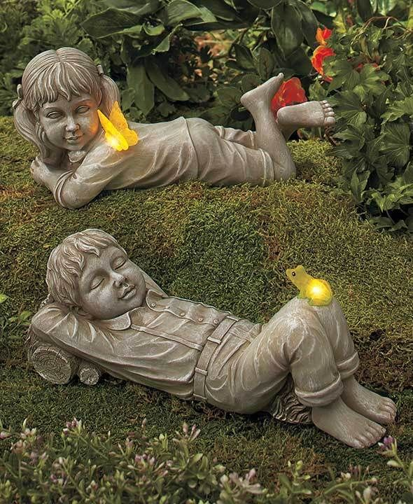 statues kids with solar fireflies boy or girl light up