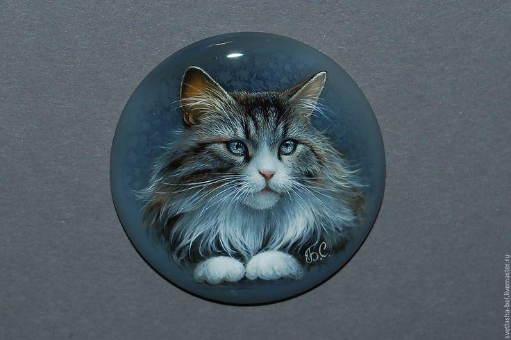 Купить Серебристый Котик - серебряный, лаковая миниатюра, живопись на камне, уникальное украшение