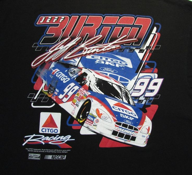 Men's T-Shirt NASCAR Jeff Burton Citgo Racing Double-sided Black S/Sleeve 2XL #Delta #GraphicTee